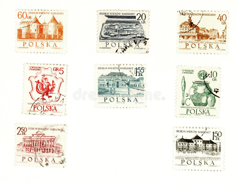 Collectible postage stamps from Poland. Collectible stamps from Poland. Set with sights from Warsaw royalty free illustration