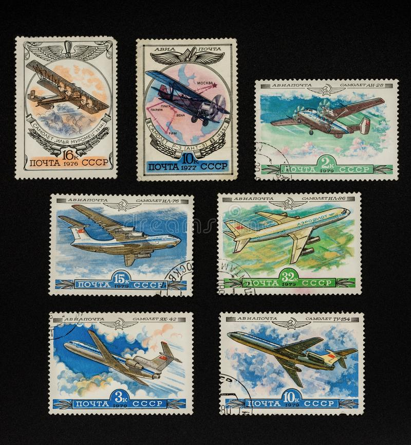 Collectible stamps from USSR. Set of airplanes. royalty free stock images