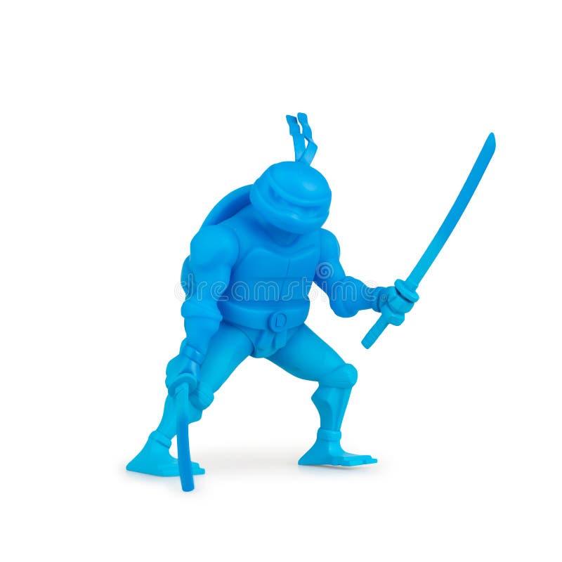 Collectible zabawkarska Ninja żółwi kreskówka na białym tle obraz royalty free