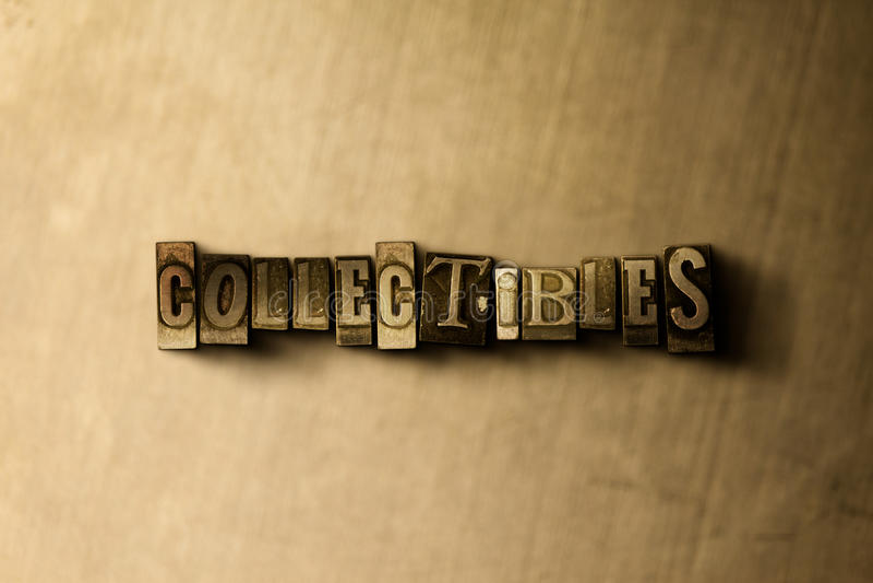 COLLECTIBLES - конец-вверх grungy слова typeset годом сбора винограда на фоне металла стоковое изображение