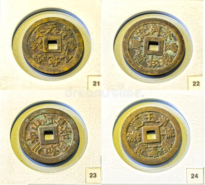 Collectibles ancient large coin in the reign of Minh Mang king 1830 feudal period in Vietnam. This is made of bronze coins were used as prize money for the stock photography
