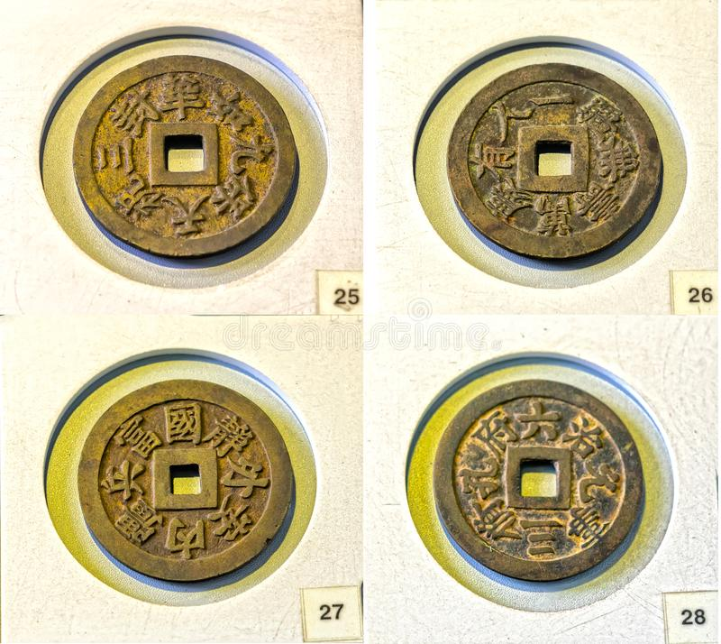 Collectibles ancient large coin in the reign of Minh Mang king 1830 feudal period in Vietnam. This is made of bronze coins were used as prize money for the stock photo