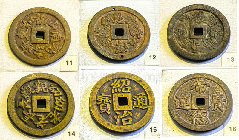 Collectibles ancient large coin in the reign of Minh Mang king 1830 feudal period in Vietnam. This is made of bronze coins were used as prize money for the royalty free stock photography