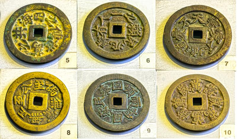 Collectibles ancient large coin in the reign of Minh Mang king 1830 feudal period in Vietnam. This is made of bronze coins were used as prize money for the royalty free stock photo