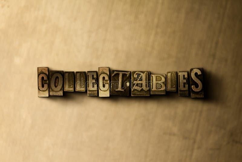 COLLECTIBLES - close-up van grungy wijnoogst gezet woord op metaalachtergrond royalty-vrije illustratie