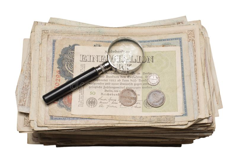 Collectibles conia i premi delle banconote fotografie stock