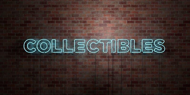 COLLECTIBLES - fluorescent T.L.-buisteken op metselwerk - vooraanzicht - 3D teruggegeven royalty vrij voorraadbeeld vector illustratie