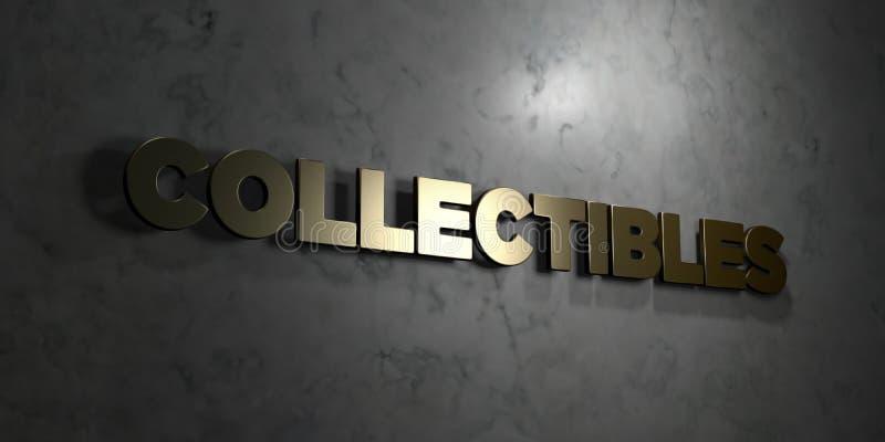Collectibles - Gouden tekst op zwarte achtergrond - 3D teruggegeven royalty vrij voorraadbeeld vector illustratie