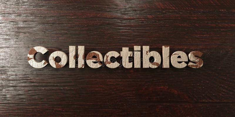 Collectibles - grungy houten krantekop op Esdoorn - 3D teruggegeven royalty vrij voorraadbeeld stock illustratie