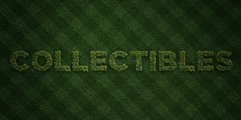 COLLECTIBLES - verse Grasbrieven met bloemen en paardebloemen - 3D teruggegeven royalty vrij voorraadbeeld vector illustratie