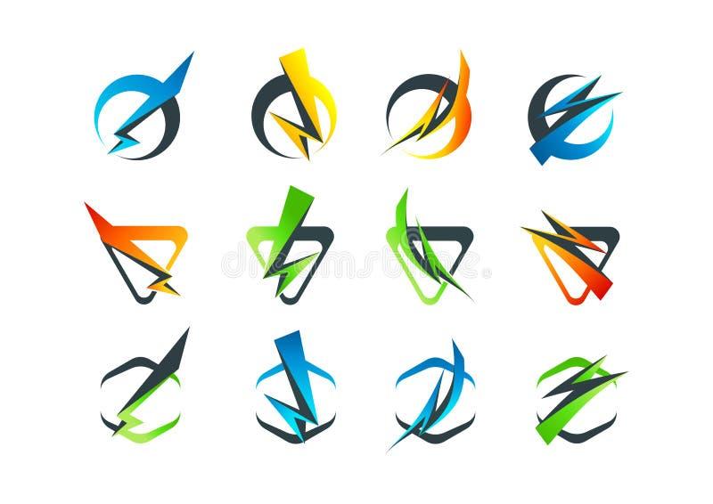 Collectief bedrijfsembleem, het pictogram van het flitssymbool en blikseminslagconceptontwerp royalty-vrije illustratie
