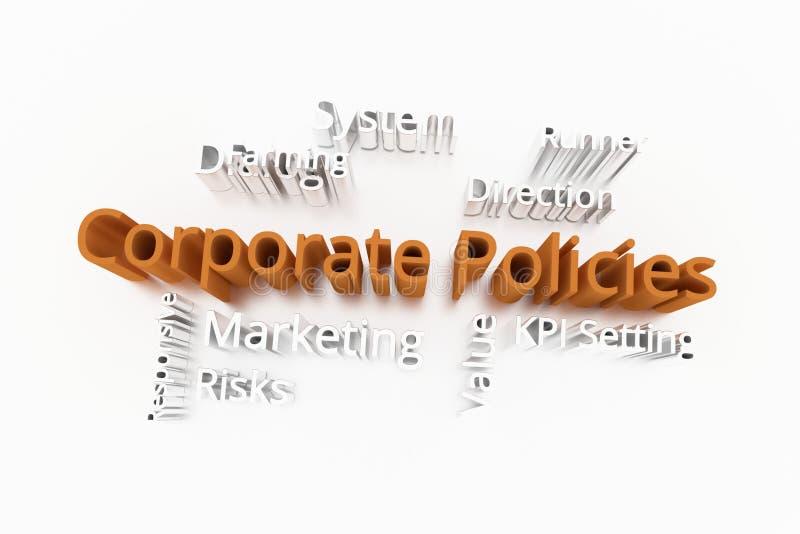 Collectief Beleid, commercieel sleutelwoord en woordenwolk Voor webpagina, grafisch ontwerp, textuur of achtergrond het 3d terugg royalty-vrije illustratie