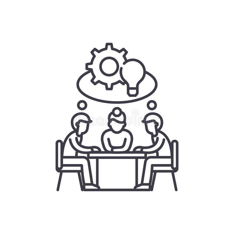 Collectief het pictogramconcept van de creativiteitlijn Collectieve creativiteit vector lineaire illustratie, symbool, teken stock illustratie