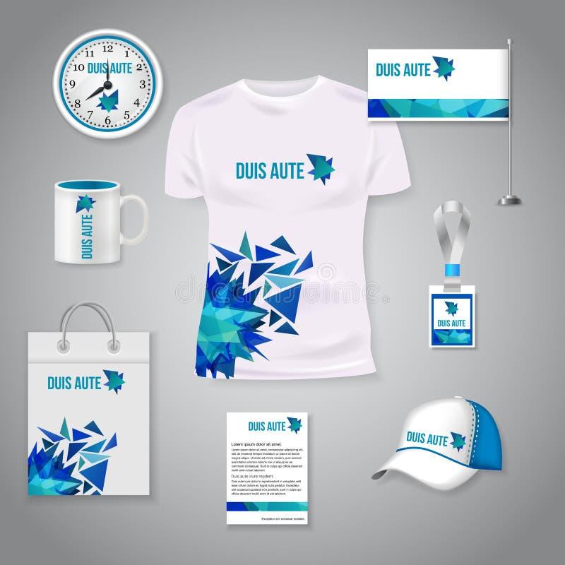 Collectief identiteits bedrijfs photorealistic ontwerpmalplaatje Het klassieke blauwe ontwerp van het kantoorbehoeftenmalplaatje  royalty-vrije stock afbeelding