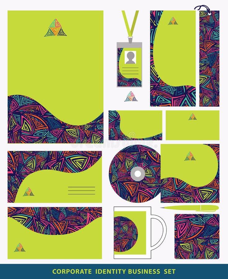 Collectief identiteits bedrijfs vastgesteld ontwerp Abstract driehoekengeklets royalty-vrije illustratie