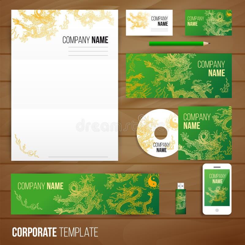 Collectief identiteits bedrijfs vastgesteld ontwerp met Azië royalty-vrije illustratie