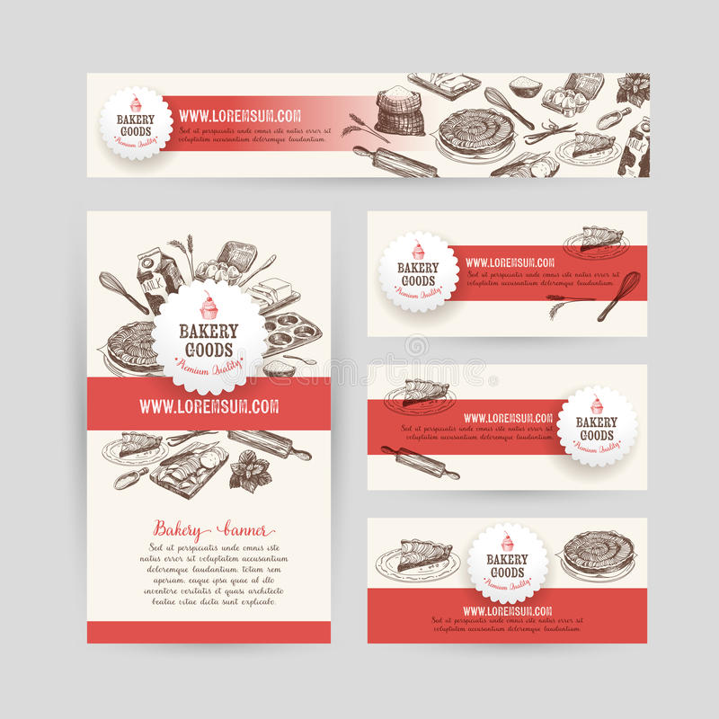 Collectief identiteits bedrijfs vastgesteld ontwerp met baksel stock illustratie