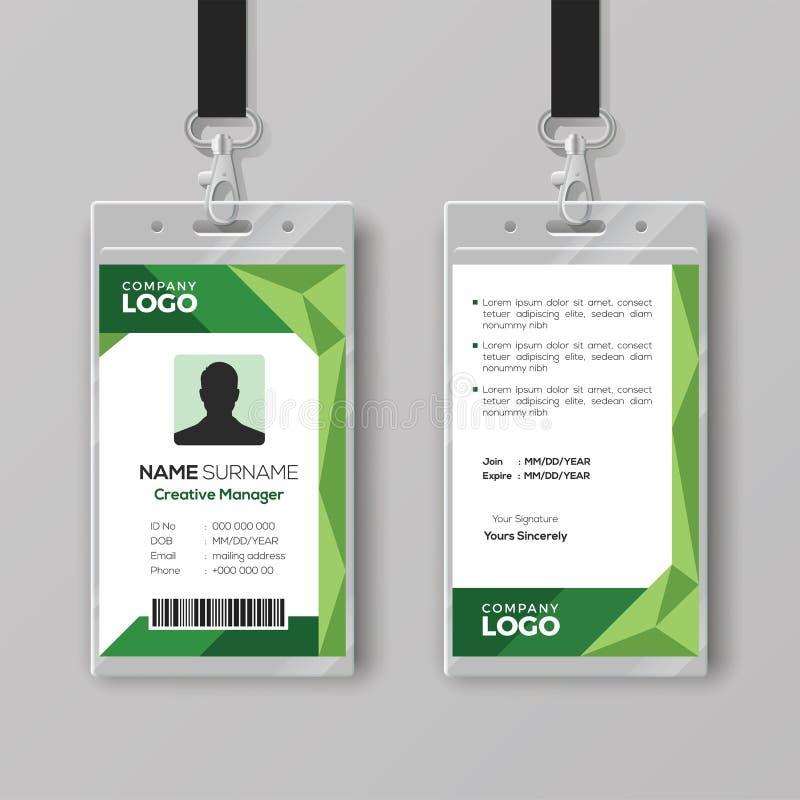 Collectief Identiteitskaartmalplaatje met abstracte groene achtergrond vector illustratie