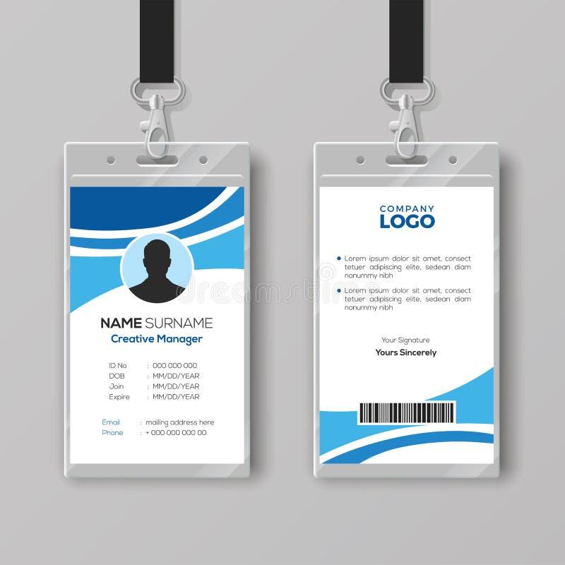 Collectief Identiteitskaartmalplaatje met Blauwe Details stock illustratie