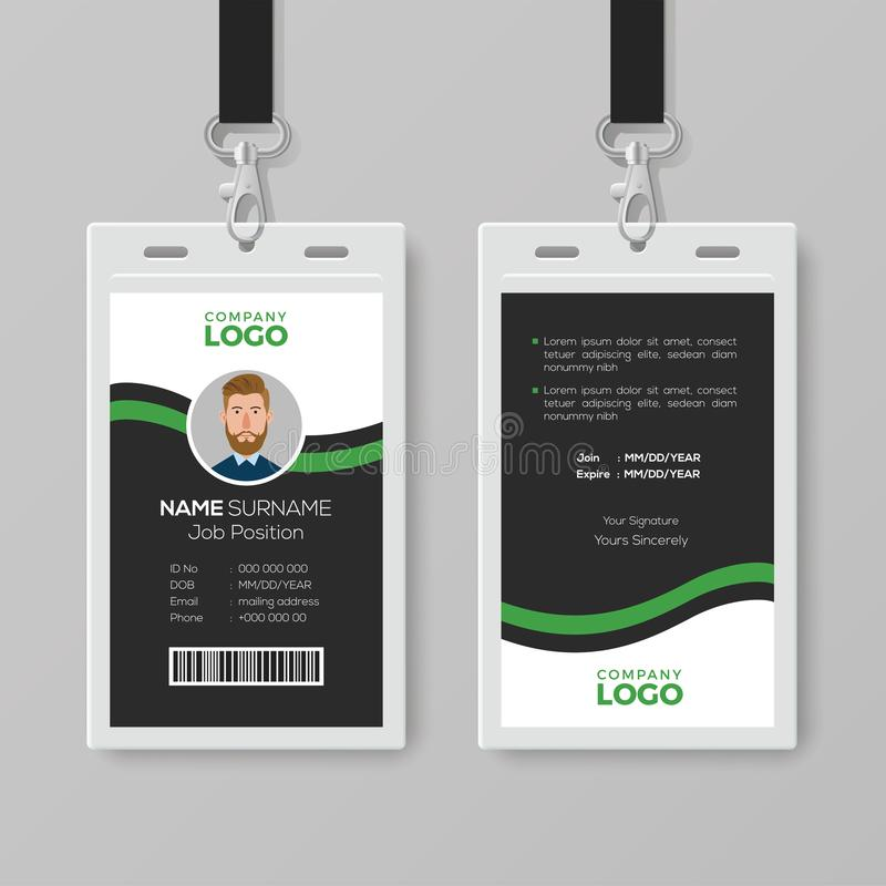 Collectief Identiteitskaartmalplaatje met Groene Details royalty-vrije illustratie