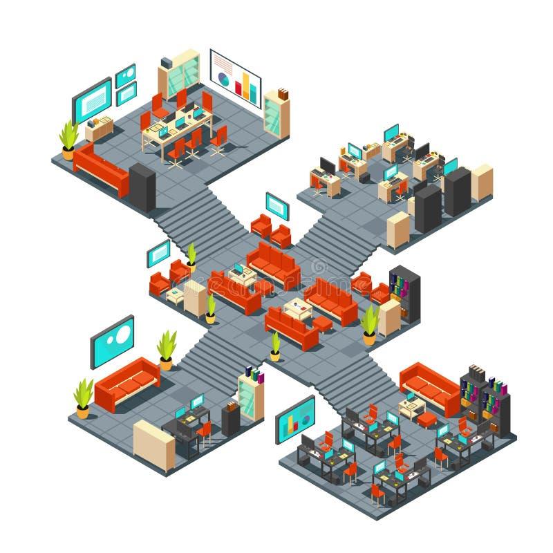 Collectief professioneel 3d bureau De isometrische van commerciële binnenlandse vectorillustratie centrumvloeren vector illustratie