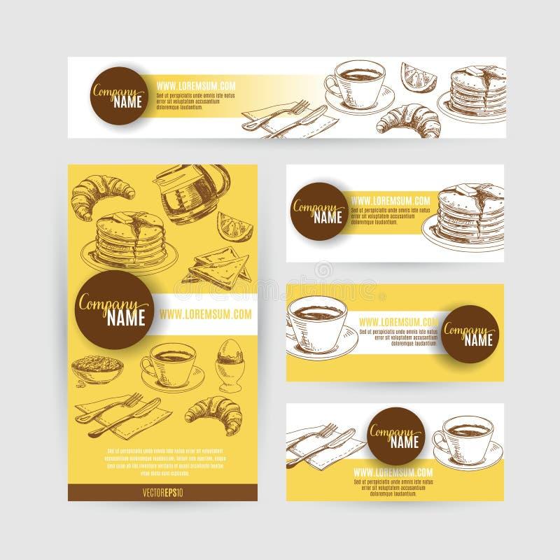 Collectief van het bedrijfs identiteitsontbijt vastgesteld ontwerp stock illustratie