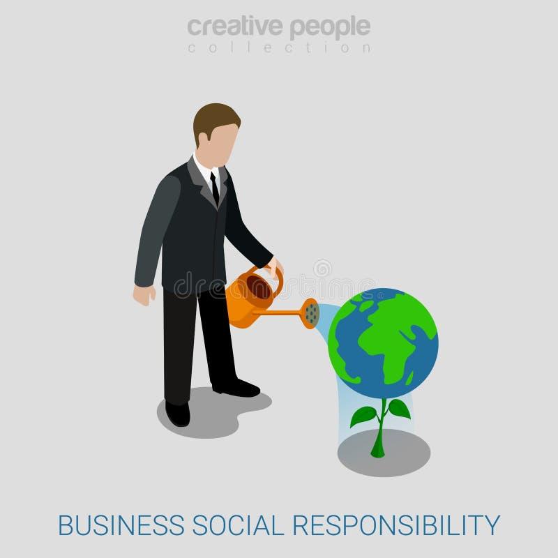 Collectieve bedrijfs sociale verantwoordelijkheids vlakke isometrische vector royalty-vrije illustratie