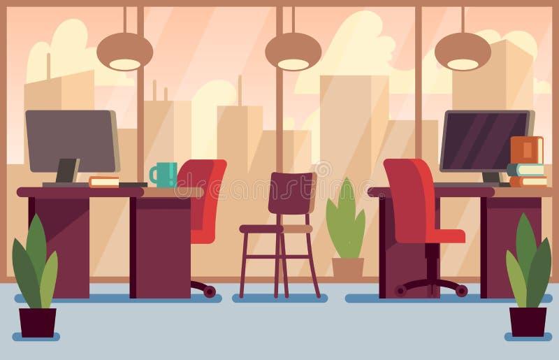 Collectieve bedrijfsbureau modieuze moderne binnenlandse vectorillustratie royalty-vrije illustratie