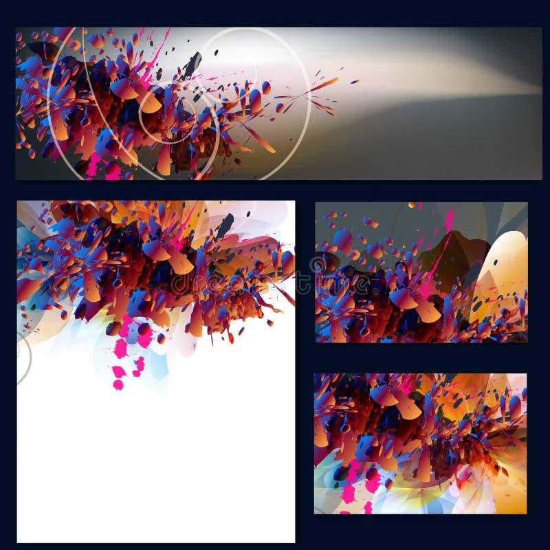 Collectieve bloemenidentiteitsmalplaatjes met abstract gebladerte royalty-vrije illustratie
