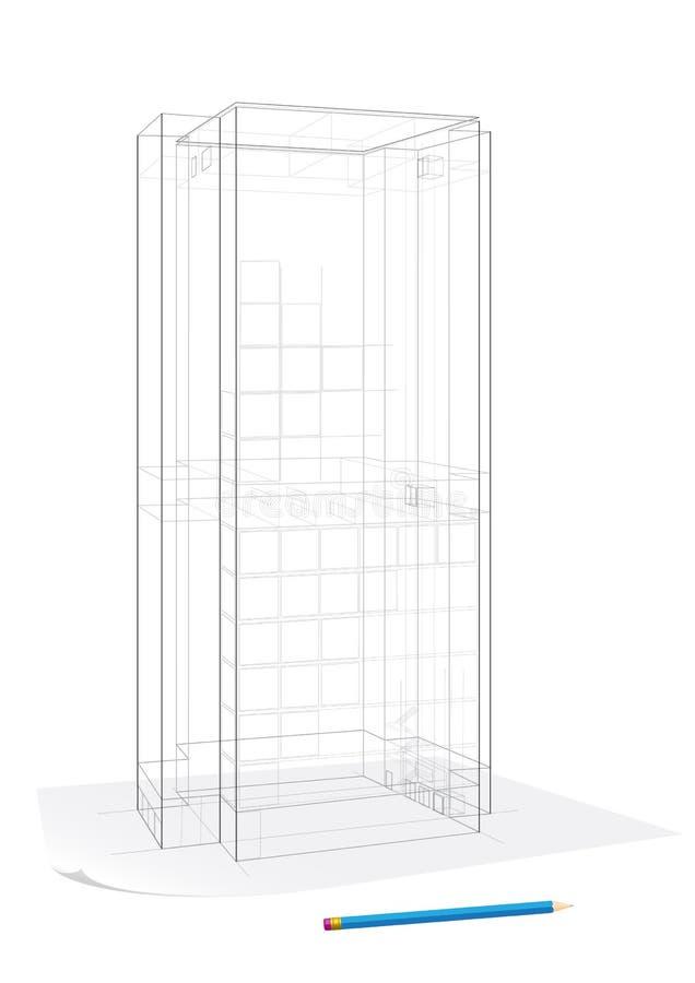 Collectieve de bouwschets royalty-vrije illustratie