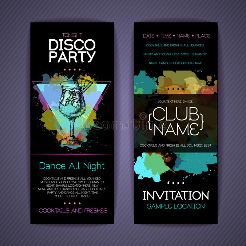 Download Collectieve De Identiteitsmalplaatjes Van De Discococktail Party Vector Illustratie - Illustratie bestaande uit fruit, club: 114226956