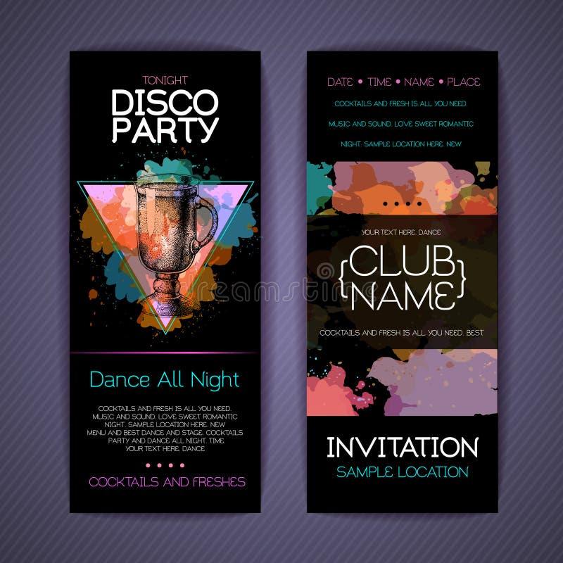Download Collectieve De Identiteitsmalplaatjes Van De Discococktail Party Vector Illustratie - Illustratie bestaande uit materialen, futuristisch: 114226983