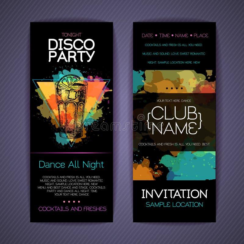 Download Collectieve De Identiteitsmalplaatjes Van De Discococktail Party Vector Illustratie - Illustratie bestaande uit lijn, achtergrond: 114226984