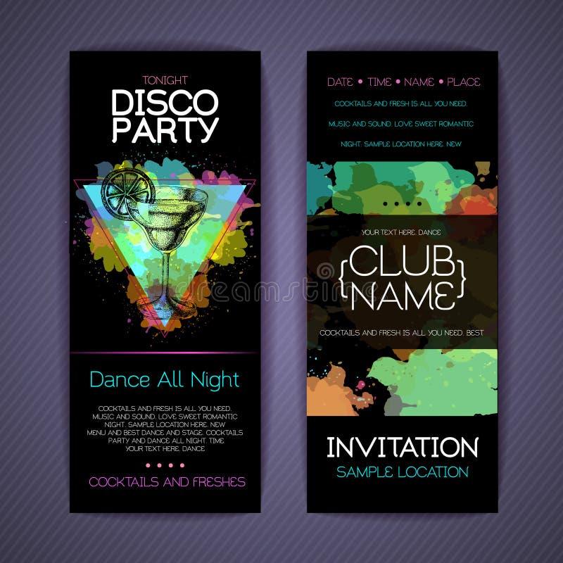 Collectieve de identiteitsmalplaatjes van de discococktail party royalty-vrije illustratie