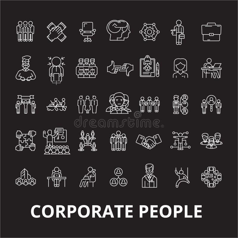Collectieve de pictogrammenvector van de mensen editable die lijn op zwarte achtergrond wordt geplaatst De collectieve illustrati royalty-vrije illustratie