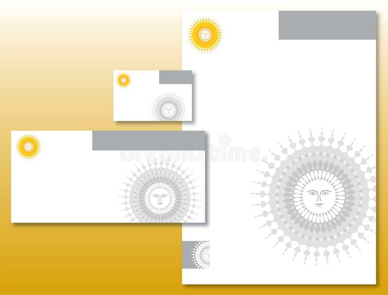 Collectieve Geplaatste Identiteit - het Embleem van de Zon in Geel stock illustratie