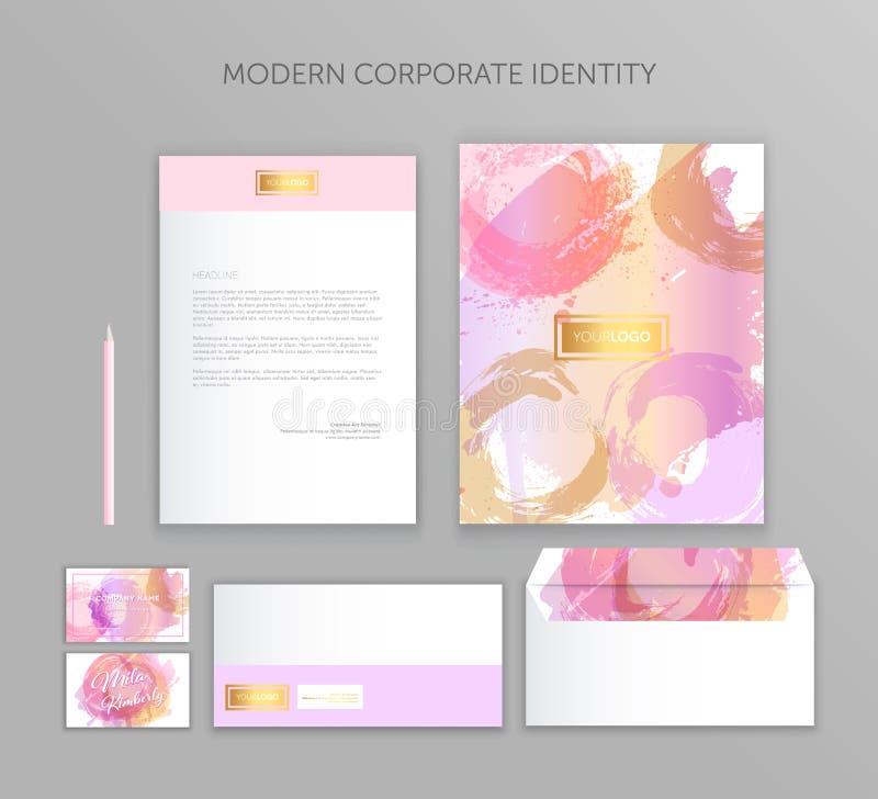 Collectieve identiteits bedrijfsreeks Het moderne ontwerp van het kantoorbehoeftenmalplaatje Documentatie voor zaken vector illustratie