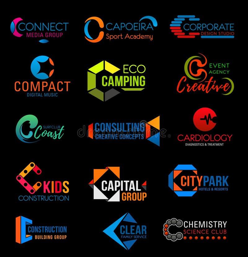 Collectieve identiteitsc kleurrijke bedrijfspictogrammen stock illustratie