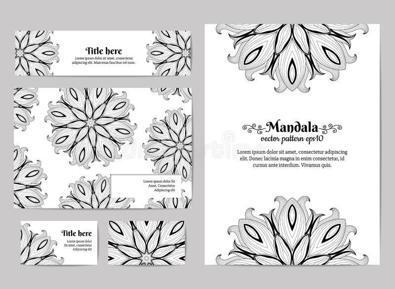 Collectieve Identity Adreskaartje, uitnodiging, envelop en banner Bloemenmandala pattern Vector illustratie vector illustratie