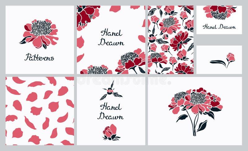 Collectieve Identity Reeks kaarten, naadloze patronen, adreskaartjes Pioenbloemen royalty-vrije illustratie