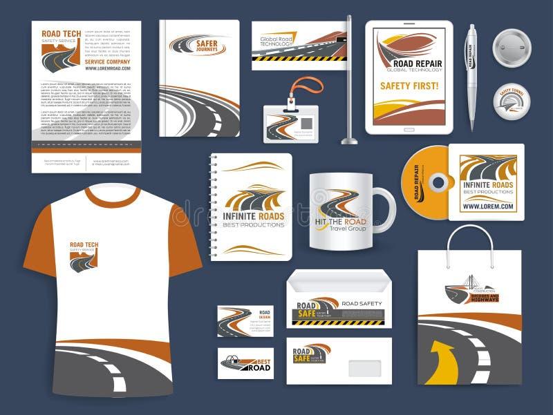 Collectieve malplaatjes voor wegenbouwbedrijf stock illustratie