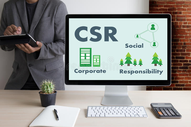 Collectieve Sociale Verantwoordelijkheid CSR en Duurzaamheid Responsib stock afbeelding