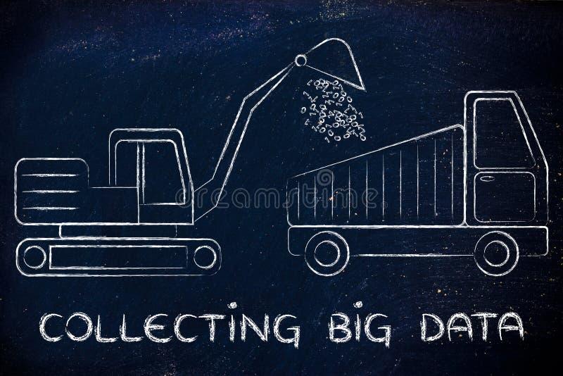 Collecting big data: funny digger and truck elaborating binary c stock photo