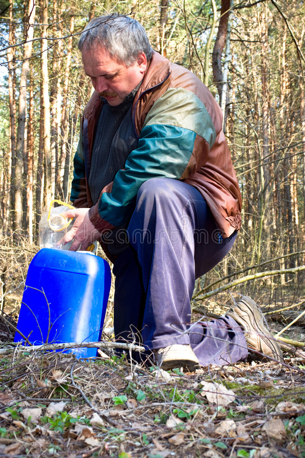 Download Collecting birch sap stock photo. Image of tank, plant - 9001092
