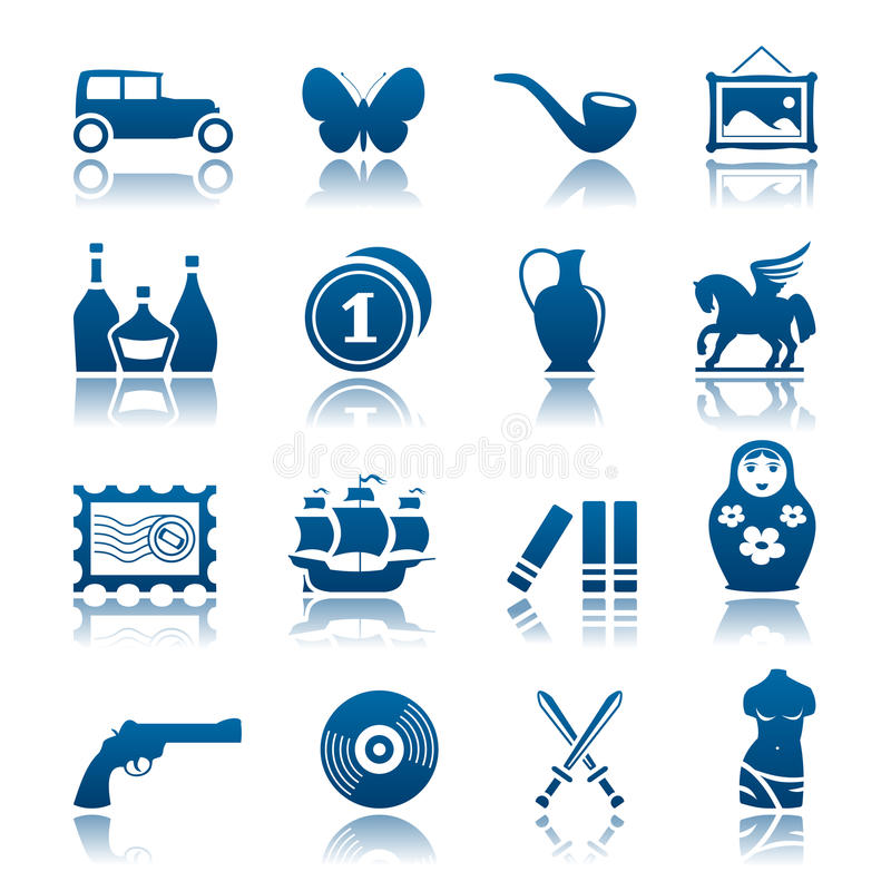 Collecting and hobby icon set royalty free illustration