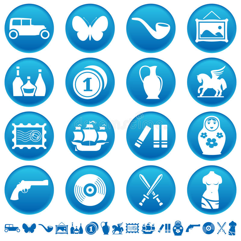 Collecting And Hobby Icons Royalty Free Stock Photos