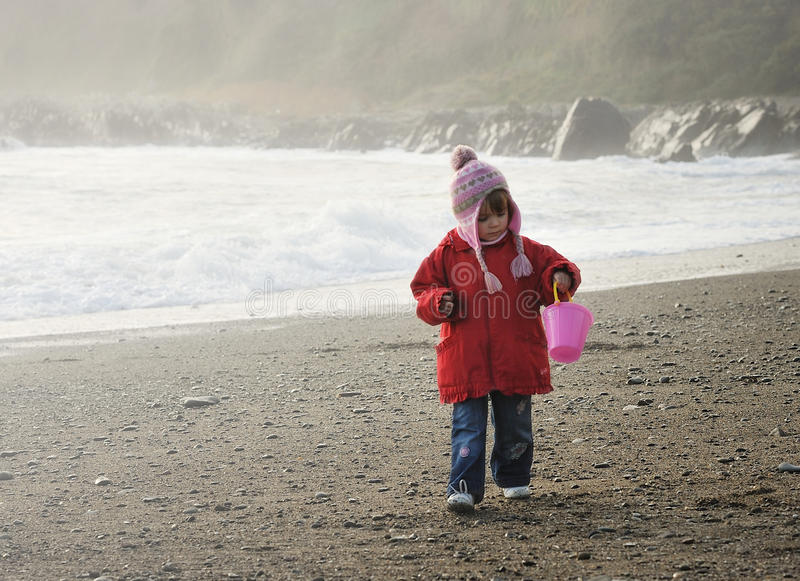 Collecting Seashells. A little girl with a pink bucket collecting seashells on a beach royalty free stock image