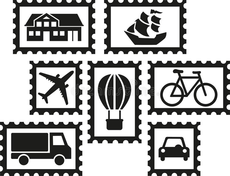 Collecting stamps - set of stamps with icons vector illustration