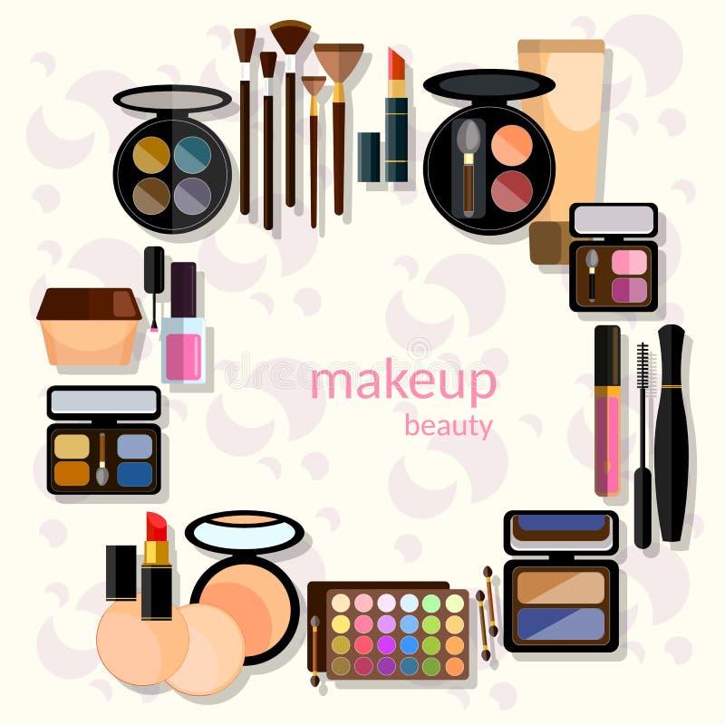 Collectio fascinant de maquillage de mode de mascara de maquillage illustration libre de droits