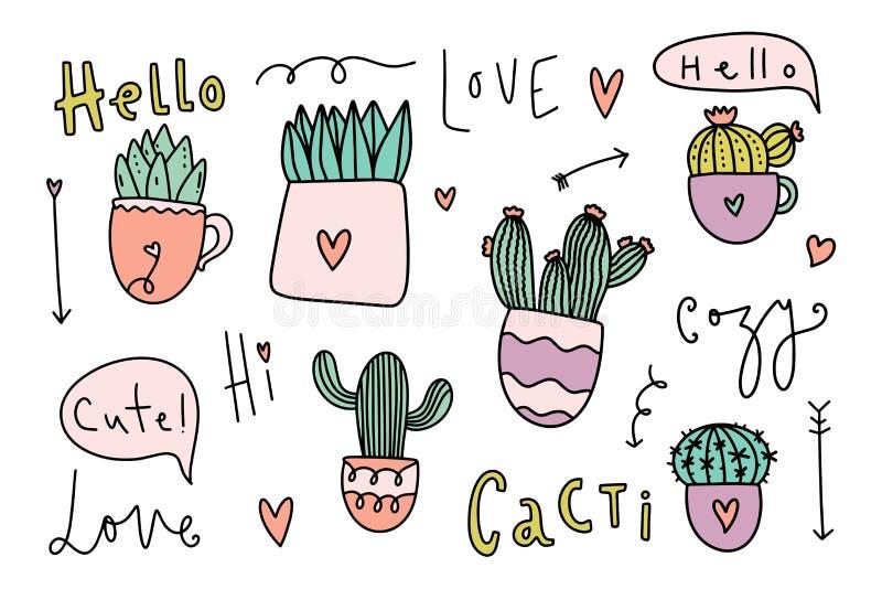Collection à la maison confortable mignonne de cactus de thème vecteur prêt d'image d'illustrations de téléchargement illustration de vecteur